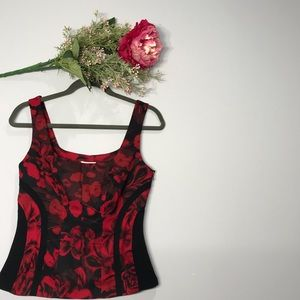 Cache | Watercolor Red Floral Tank Top Size Small